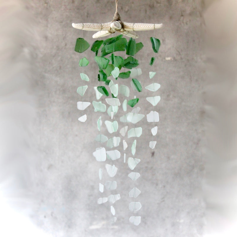 Sea Glass & Starfish Mobile - Ombre Green Chandelier