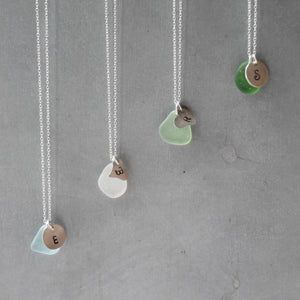 Sea Glass & Custom Tag with Initials