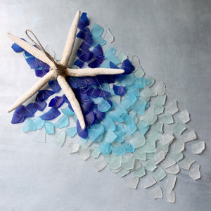 Sea Glass & Starfish Mobile - Grand in Royal Ombre Chandelier