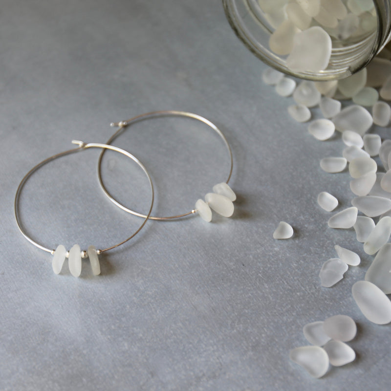 Sea Glass & Sterling Silver Boho Hoops - White