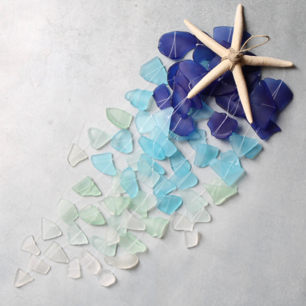 Sea Glass & Starfish Mobile - Royal Ombre