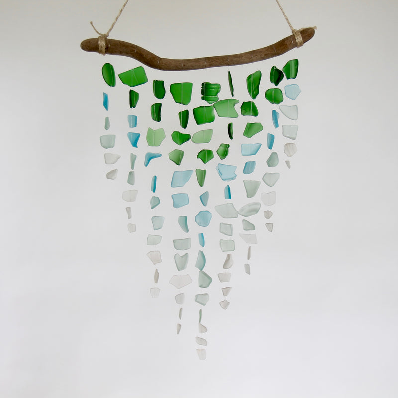 Sea Glass & Driftwood Mobile - Ombre