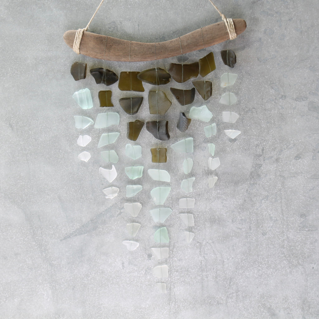 Sea Glass & Driftwood Mobile - OLIVE  GREEN- Olive, Seafoam and White Seaglass