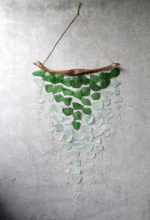 Sea Glass & Driftwood Mobile - OMBRE  GREEN- Green, Seafoam and Clear Seaglass
