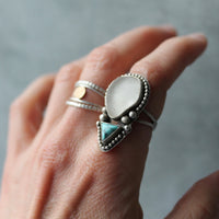 Turquoise & Sea Glass Boho Ring