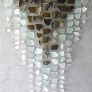 Sea Glass & Driftwood Mobile - WINE GREEN- Olive, Seafoam and White Seaglass