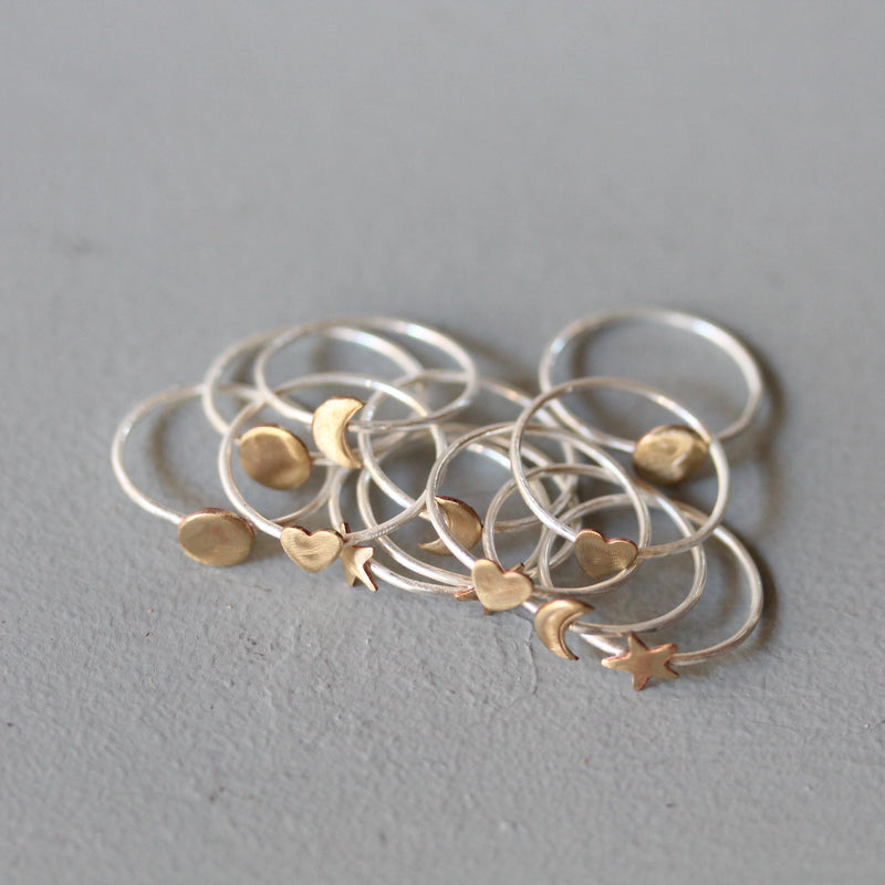 Silver Stacking Rings with Brass Heart - Set of 3