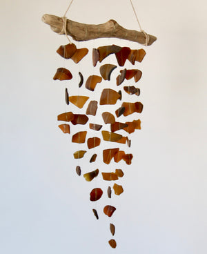 Sea Glass & Driftwood Mobile - Brown / Amber - TheRubbishRevival