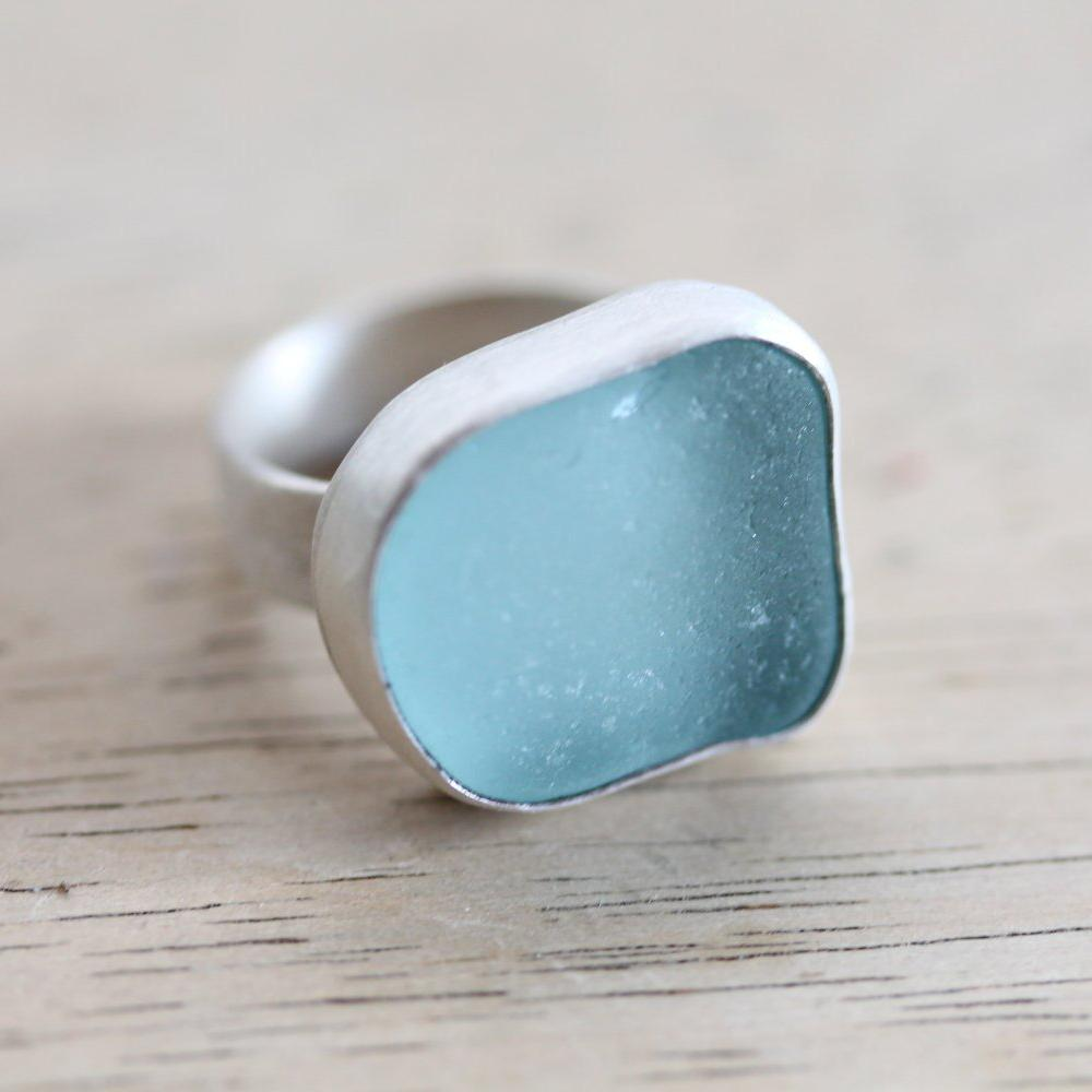 Sea Glass & Sterling Silver Ring - Custom Made - TheRubbishRevival