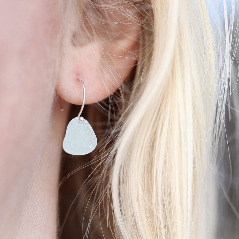 Sea Glass & Sterling Silver Earrings in Light Aqua - TheRubbishRevival