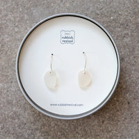 Sea Glass & Sterling Silver Earrings - White - TheRubbishRevival