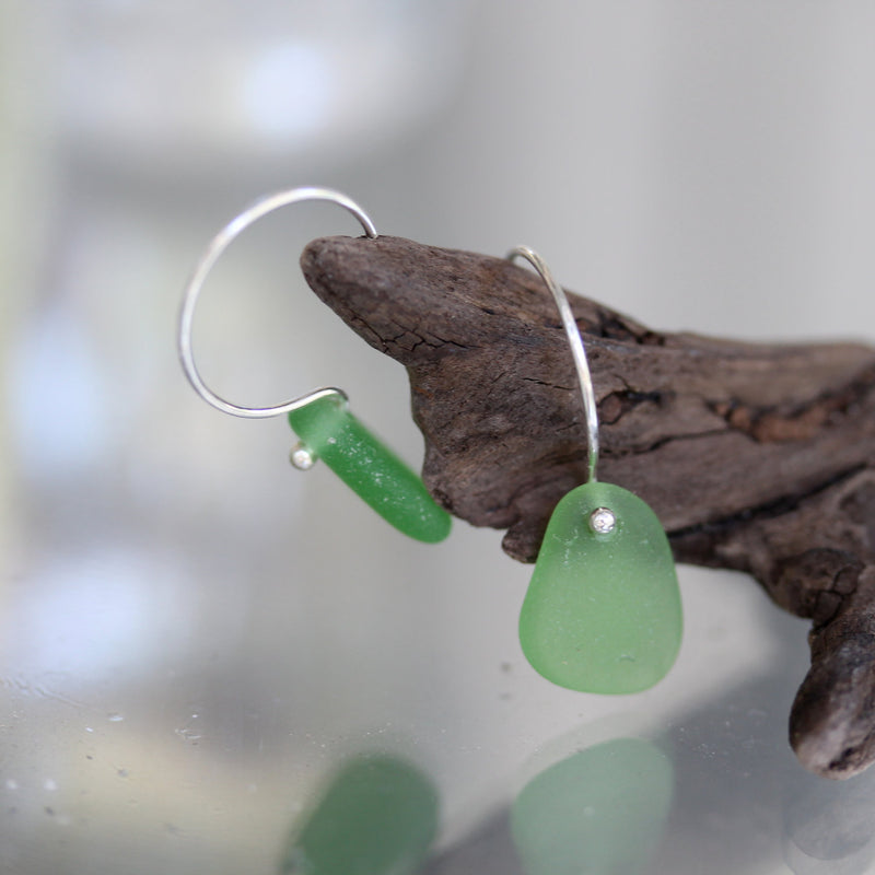 Sea Glass & Sterling Earrings in Emerald Green - TheRubbishRevival