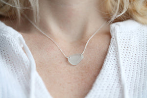 Sea Glass & Sterling Silver Necklace - Light Aqua - TheRubbishRevival