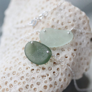 Sea Glass & Sterling Silver Necklace - Green - TheRubbishRevival