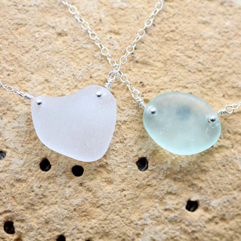Sea Glass & Sterling Silver Necklace - White - TheRubbishRevival