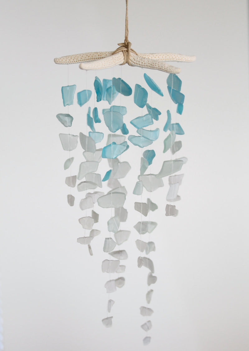 Sea Glass & Starfish Mobile - Ombre Blues - TheRubbishRevival
