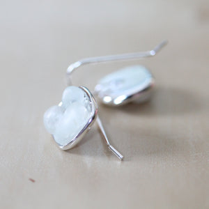 Sea Glass & Silver Mosaic Earrings - White - TheRubbishRevival