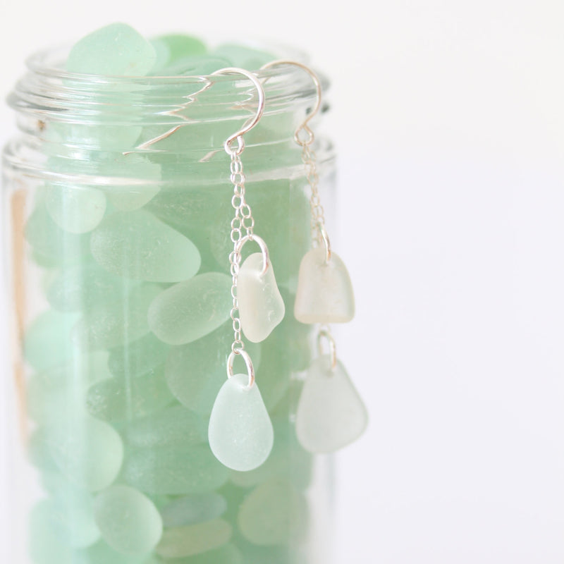 Sea Glass & Sterling Silver Earrings - TheRubbishRevival