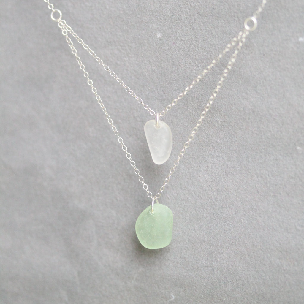 Sea Glass & Sterling Silver Necklace - TheRubbishRevival