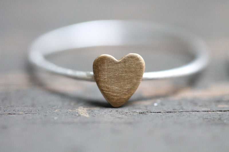 Silver Stacking Rings with Brass Heart - Set of 3 - TheRubbishRevival