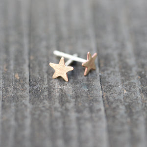Brass Star Earrings - Sterling Post - TheRubbishRevival