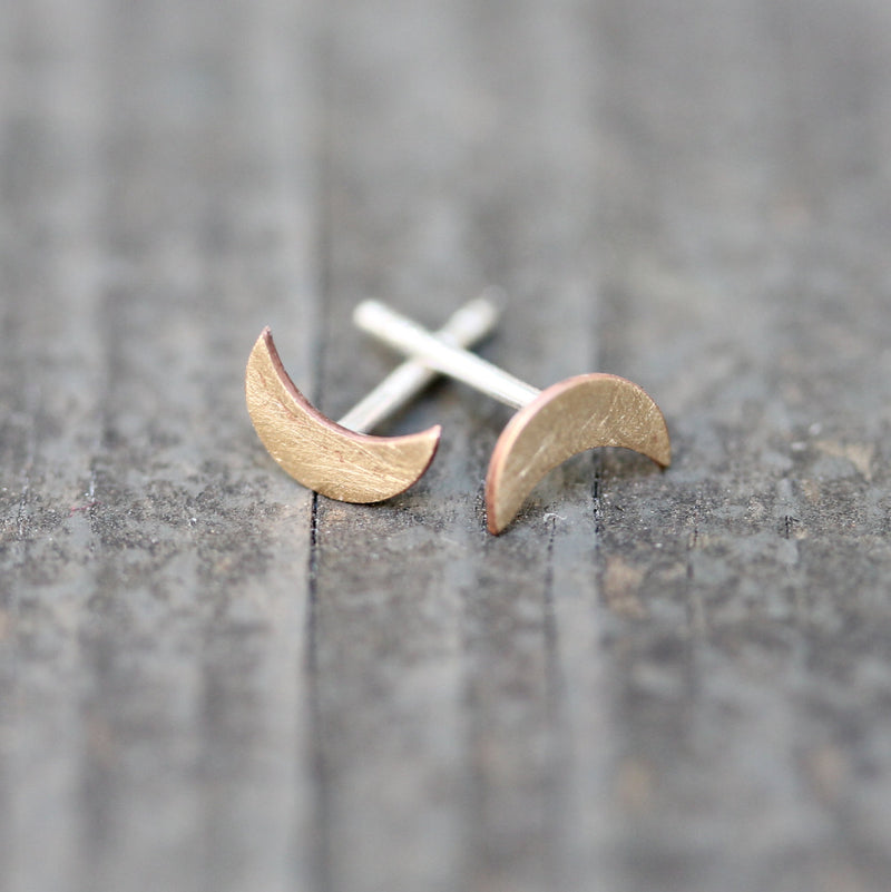 Silver & Brass Petite Moon Earrings - TheRubbishRevival