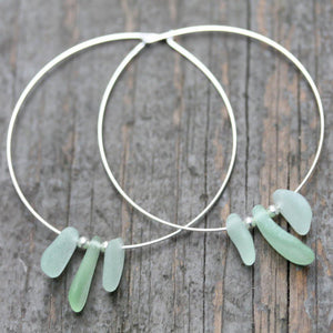 Sea Glass & Sterling Silver Boho Hoops - TheRubbishRevival