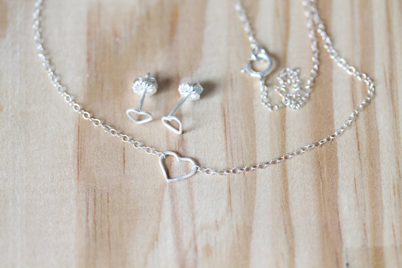 Sterling Hearts - Necklace and Earring Set - TheRubbishRevival