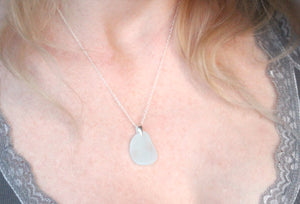 Sea Glass & Sterling Silver Necklace - White Pendant - TheRubbishRevival