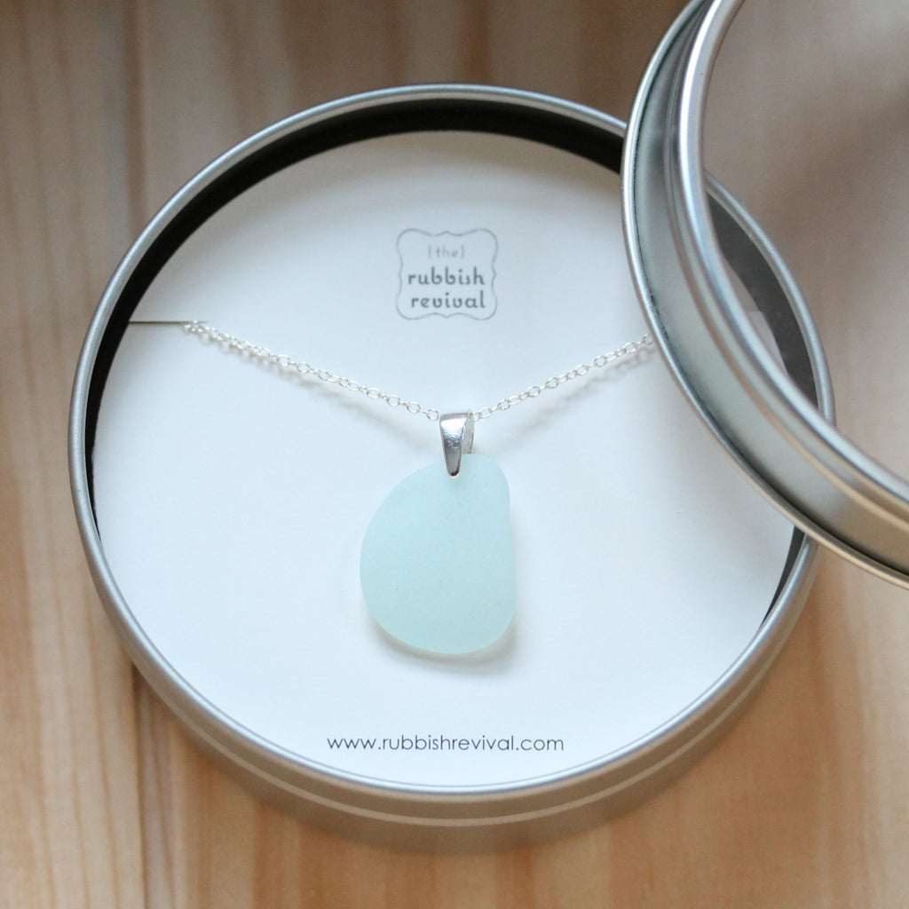Sea Glass & Sterling Silver Necklace - Light Aqua Pendant - TheRubbishRevival
