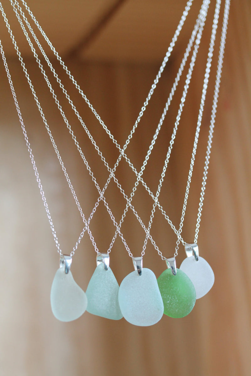 Sea Glass & Sterling Silver Necklace - Emerald Pendant - TheRubbishRevival