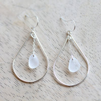 Sea Glass & Sterling Silver Peacock Earrings - White - TheRubbishRevival