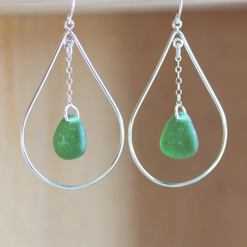 Sea Glass & Sterling Silver Peacock Earrings - Emerald - TheRubbishRevival