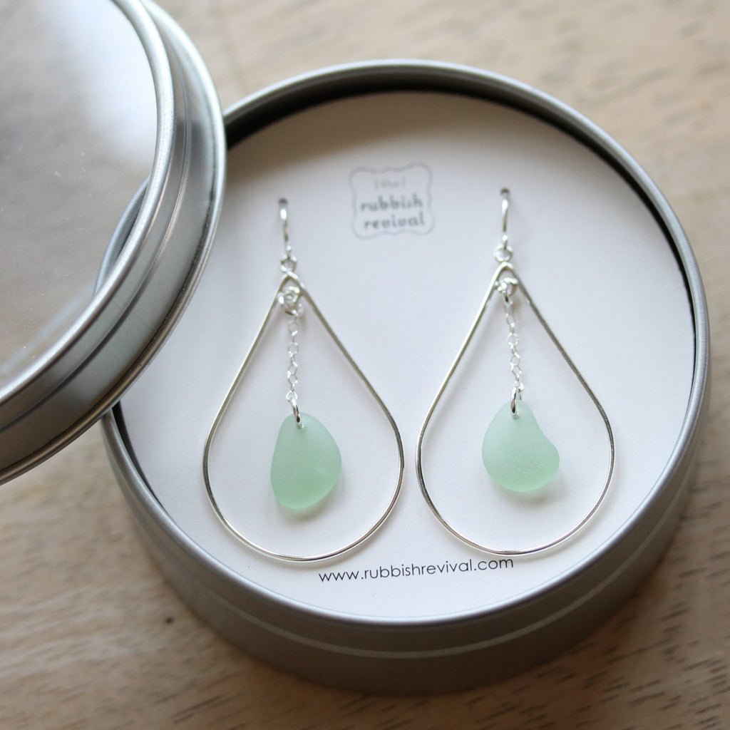 Sea Glass & Sterling Silver Peacock Earrings - Seafoam - TheRubbishRevival