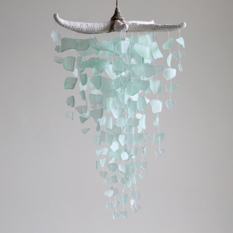 Sea Glass & Starfish Mobile - Seafoam - TheRubbishRevival