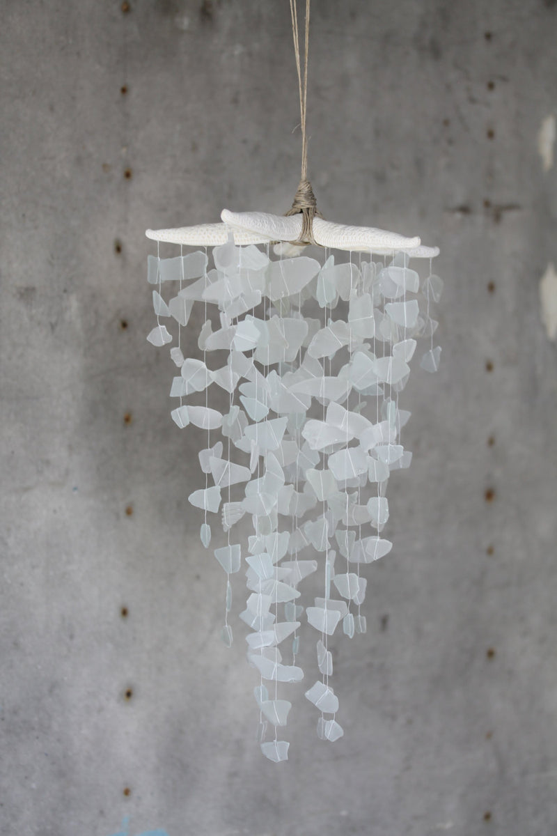 Sea Glass & Starfish Mobile - Grand in White - TheRubbishRevival