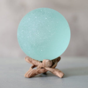 Giant Aqua Seaglass Ball With Starfish or Driftwood Stand - TheRubbishRevival