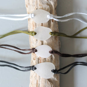 Sea Glass & Leather Wrap Bracelet - Olive Seaglass - TheRubbishRevival
