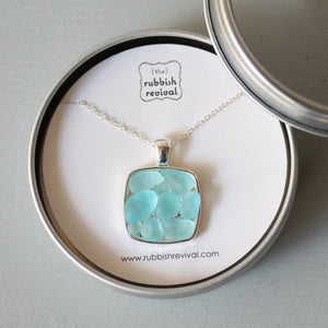 Sea Glass & Silver Mosaic Necklace - Aqua - TheRubbishRevival