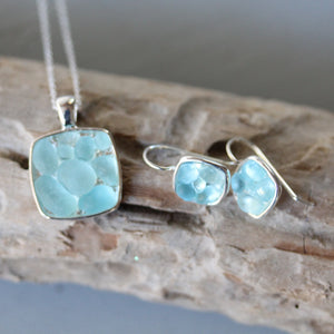 Sea Glass & Silver Mosaic Earrings - Aqua - TheRubbishRevival