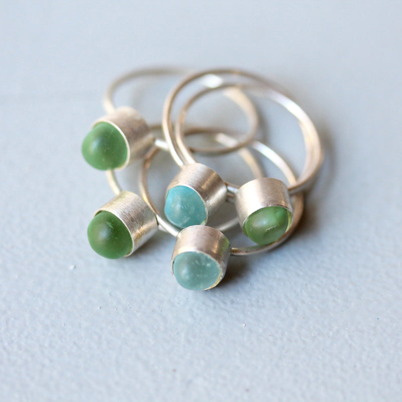 Petite Sea Glass Ring - TheRubbishRevival
