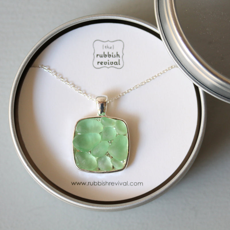 Sea Glass & Silver Mosaic Necklace - Green - TheRubbishRevival