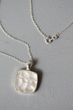 Sea Glass & Silver Mosaic Necklace in White - TheRubbishRevival