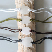 Sea Glass & Leather Wrap Bracelet - TheRubbishRevival