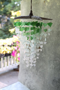 Sea Glass & Starfish Mobile - Grand in Green Ombre Chandelier