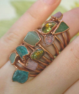 Aventurine & Copper Ring
