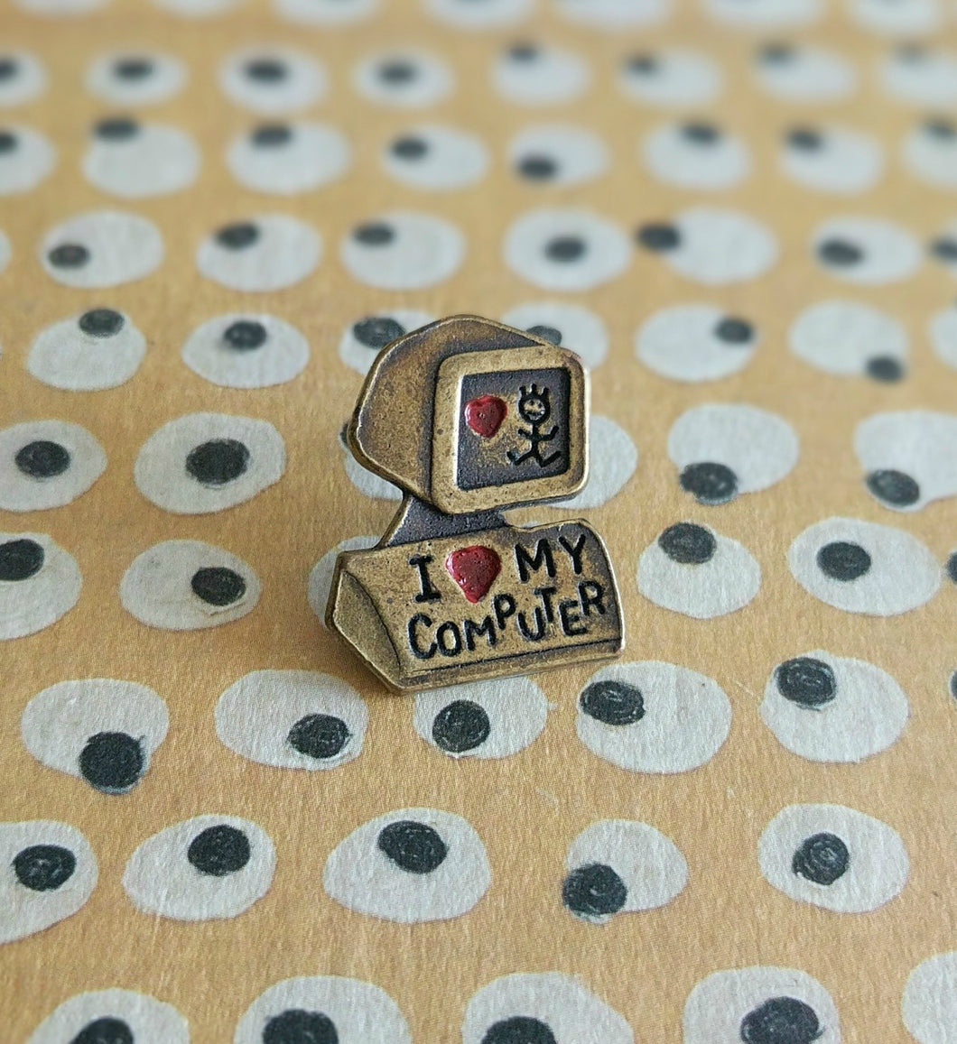I Love My Computer Vintage Pin