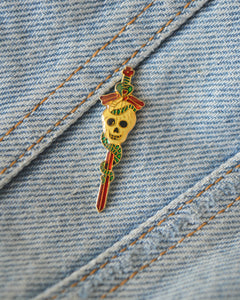 Vintage Sword and Skull Pin