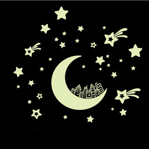 Moon Stars Removable Night Glow in the Dark Luminous Luminous wall sticker