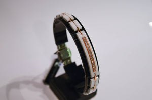 Yellow Gold, Ceramic and Steel Bracelet with Diamonds
